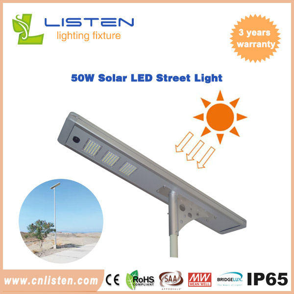 Integrated Solar Street Light 50W With Bridgelux/Philips Chip