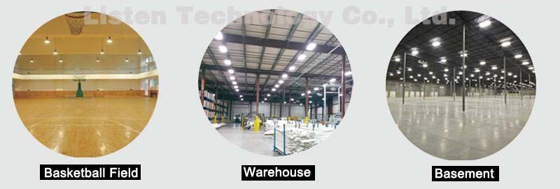 application for led ufo high bay light, apply to warehouse, basement, basketball, home etc.